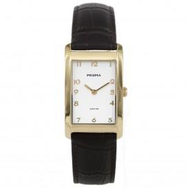 Prisma horloge 1967 Dames Titanium Goud Leder P.1967 Dameshorloge 1