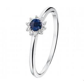 TFT Ring Saffier En Diamant 0.07ct H P1 Witgoud