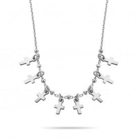 New Bling 9NB 0310 Zilveren Collier met Kruis - lengte 38 + 5 cm - Zilverkleurig