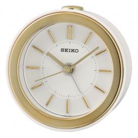 Seiko wekker kunststof wit met matte goudkleur QHE156W