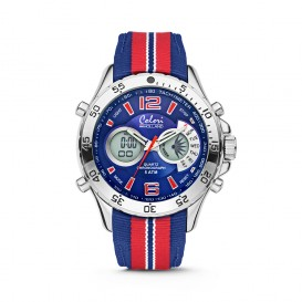 Colori Holland Sports 5-CLD135 - Horloge - nylon band - rood/blauw - 48 mm