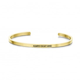 Key Moments 8KM-B00065 Stalen open bangle met tekst always on my mind zirkonia one-size goudkleurig