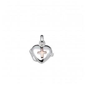 Lilly Zilveren Medaillon - 11 Mm Hart Rosé Kruis  145.0127.00