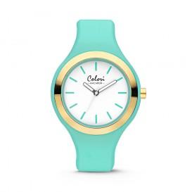 Colori 5-COL431 - Horloge - Mint groen en goudkleurig - 44 mm