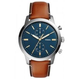 Fossil FS5279 Horloge Townsman Chronograaf blauw-cognac 44 mm