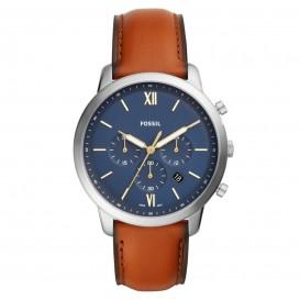 Fossil FS5453 Horloge Neutra Chrono zilverkleurig-cognac 44 mm