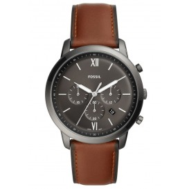 Fossil FS5512 Horloge Neutra Chrono staal/leder 40 mm