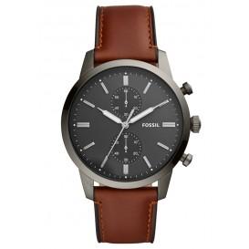 Fossil FS5522 Horloge Townsman staal/leder 45 mm