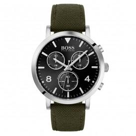 Hugo Boss HB1513692 Horloge Spirit chronograaf staal/textiel zilverkleurig/groen 41 mm