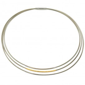 GALA DESIGN J0020 Ketting Tripple Round staal-zilver goud-en zilverkleurig 43 cm