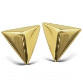 JWLS4U JE001G Oorbellen Pyramide 3 D zilver goudkleurig