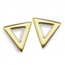 JWLS4U JE003G Oorbellen Triangle zilver goudkleurig