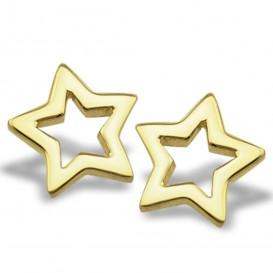 JWLS4U JE006G Oorbellen Star Open zilver goudkleurig