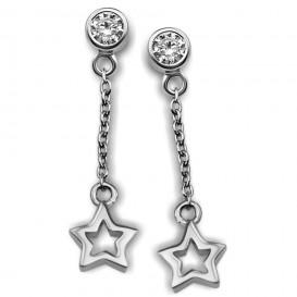 JWLS4U JE007S Oorhangers Star Open zilver
