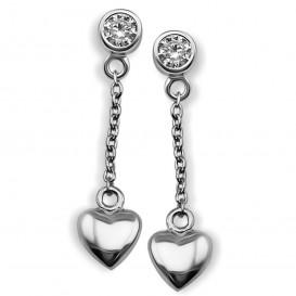 JWLS4U JE008S Oorhangers Heart 3D zilver