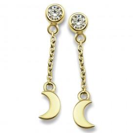 JWLS4U JE009G Oorhangers Moon zilver goudkleurig