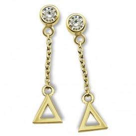 JWLS4U JE010G Oorhangers Triangle zilver goudkleurig