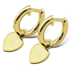 JWLS4U JE012G Oorringen Heart zilver goudkleurig 19 mm