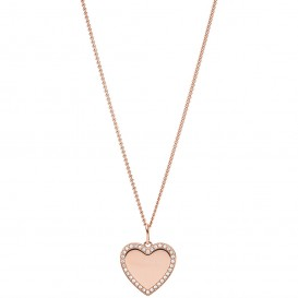 Fossil JF03362791 Ketting Vintage Iconic Heart staal rosekleurig-wit 46-51 cm