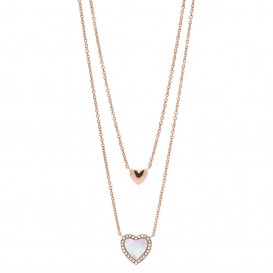 Fossil JF03459791 Ketting Vintage Glitz Hearts staal-parelmoer rosekleurig-wit