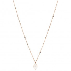 Fossil JF03643791 Ketting Vintage Iconic staal-glasparel rosekleurig-wit 46-51 cm