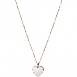 Fossil JF03645998 Ketting Vintage Iconic Heart staal rosekleurig-wit 46-51 cm