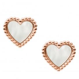 Fossil JF03692791 Oorbellen Vintage Motifs Heart staal-parelmoer rosekleurig