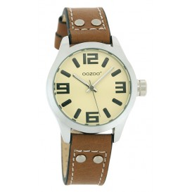 OOZOO Horloge Junior 34 mm creme/zwart JR157