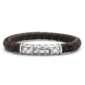 Silk Jewellery Armband zilver/leder zwart-bruin 21 cm 423BBU