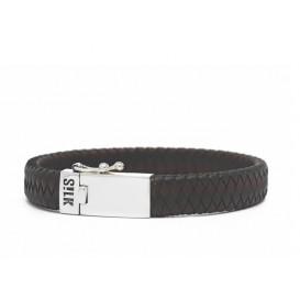 SILK Jewellery armband zilver-leder zwart-bruin 841BBR