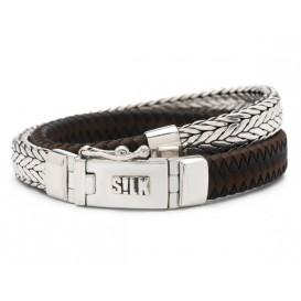 Silk Jewellery Armband Shiva Black/Brown zilver/leder zwart-bruin 19 cm 362BBR