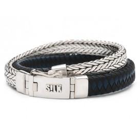 Silk Jewellery Armband Shiva Black/Blue zilver/leder zwart-blauw 21 cm 362BBU