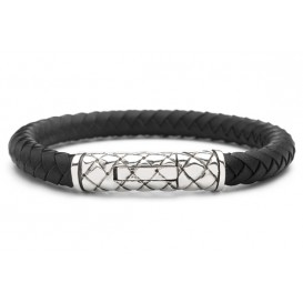 Silk Jewellery Armband zilver/leder zwart 21 cm 423BLK