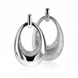 Zinzi by Mart Visser MVH10 Hanger Ovaal tweezijdig zilver met zirconia