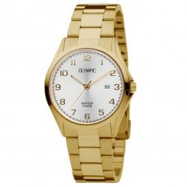 Olympic OL26HDD011 Horloge Merano staal goudkleurig-wit 40 mm