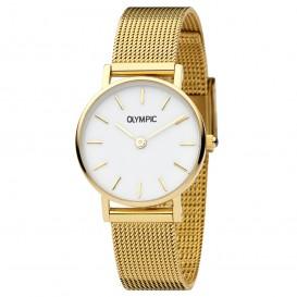 Olympic OL66DDD003 Horloge Rimini staal goudkleurig-wit 25 mm