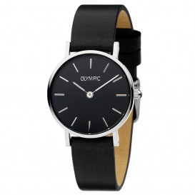 Olympic OL66DSL008 Horloge Rimini staal-leder zilverkleurig-zwart 25 mm