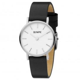 Olympic OL66DSL009 Horloge Rimini staal-leder zilverkleurig-wit 25 mm