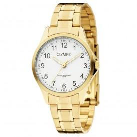 Olympic OL72DDD001 Horloge Baltimore staal goudkleurig-wit 29 mm