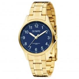 Olympic OL72DDD002 Horloge Baltimore staal goudkleurig-blauw 29 mm