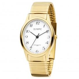 Olympic OL72DDD003 Horloge Toledo staal goudkleurig-wit 27 mm