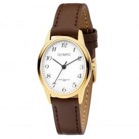 Olympic OL72DDL002 Horloge Toledo staal-leder goudkleurig-bruin-wit 27 mm