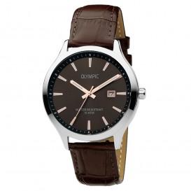 Olympic OL88HSL008 Horloge Cleveland staal-leder zilverkleurig-bruin 42 mm