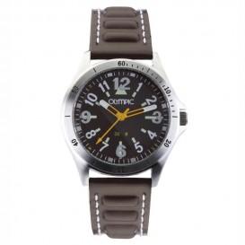 Olympic OL89JAL004 Horloge staal-leder zilverkleurig-bruin 36 mm