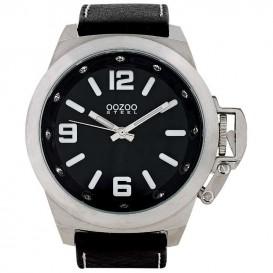 OOZOO OS136 Horloge Steel Swarovski kristal-staal-leder zilverkleurig-zwart 45 mm