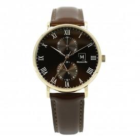 Montreville MON-6 Horloge Oslo staal-leder rosekleurig-bruin 40 mm