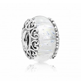 Pandora Bedel zilver Irisdescent White Glass 797617