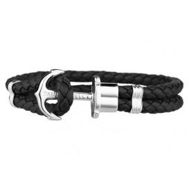 Paul Hewitt Armband Anchor Phreps staal/leder silver-black 20 cm (XL) PH-PH-L-S-B