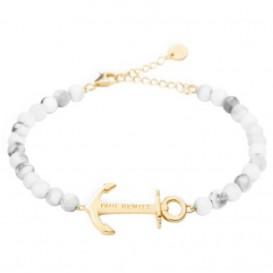 Paul Hewitt PH-ABB-G-M Armband Anchor Spirit Marble goudkleurig-grijs-wit 15,5-18 cm