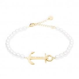 Paul Hewitt PH-ABB-G-P Armband Anchor Spirit Pearl goudkleurig-wit 15,5-18 cm